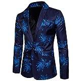 ZhuiKun Chaqueta de Traje Slim Fit Blazer Estampada Abrigos para Hombre Azul S