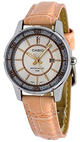 Casio #LTP1358L-4AV - Reloj de pulsera para mujer con correa de piel rosa