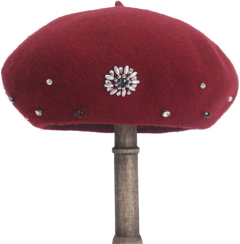 Women's HandStitched Rhinestones Retro Warm Soft Beret Painter Hat