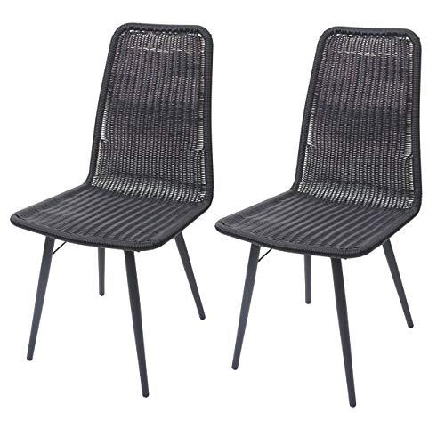 Mendler 2X Chaise en polyrotin HWC-E90, chaises de Jardin, Monture en métal ~ Noir