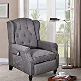 SAMERY Wingback Recliner Chair- Accent Chair Push Back Chair for Living Room Bedroom with Massage,Tufted Comfy Reclining Arm Club Chair Sofa, Reading, Napping (Gray)
