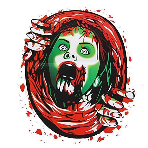 Oyria 2 stücke PVC Halloween Horror Dekoration wc Sitz Aufkleber Halloween Festival schädel wasserdichte wc geschrieben tapete wohnkultur, Frau Kopf