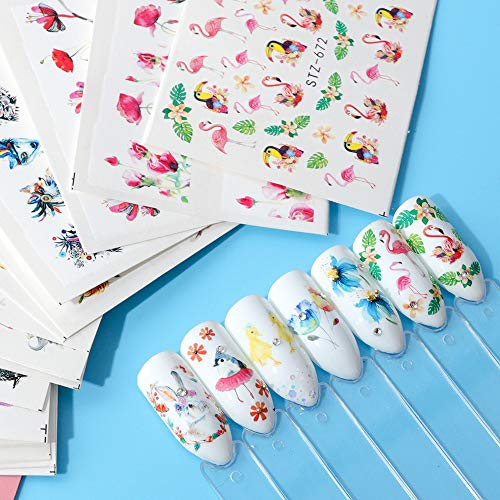 Artlalic 15 Feuilles Mixte Designs Hibou Flamingo Fleur Manucure 3d Eau Transfert Nail Stickers