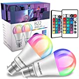 B22 Colour Changing Light Bulbs, Dimmable 10W RGB B22 Bayonet Light Bulbs with Remote Control, 60W Incandescent Bulb Equivalent, 16 Colors, Memory Function for Home Lighting, Party Decoration, 2 Pack
