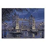 Proumhang Malen nach Zahlen für Erwachsene DIY Reine handgemalte Wohnzimmer Schlafzimmer Dekoration Gemälde 40x50cm - London Tower Bridge (ungerahmt)