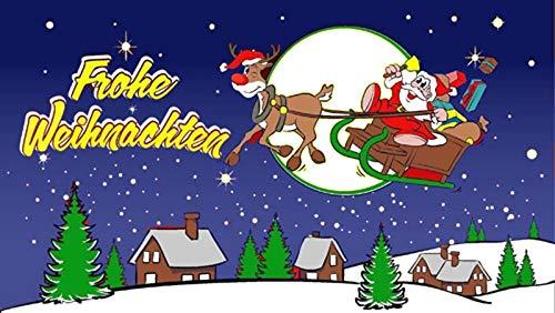 Fanshop Lünen Fahne - Flagge - Weihnachtsfahne - Frohe Weihnachten - Rentier - Weihnachtsmann - blau - 90x150 cm - Hissfahne mit Ösen - Flaggen