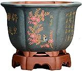 ZSMLB decoración macetas de cerámica Azul para Exteriores Grandes con Orificio de Drenaje macetas de cerámica pequeñas Hechas a Mano para decoración de Interiores y oslash; 18 cm x Altura 26,5 cm
