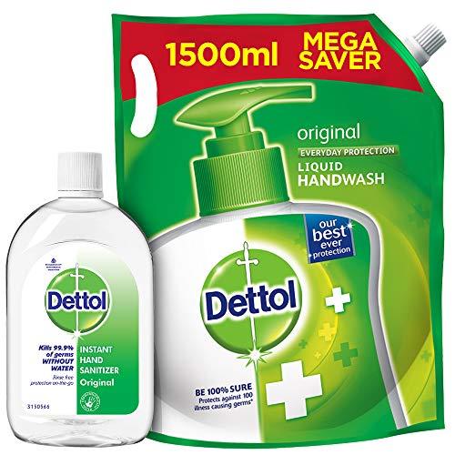 Dettol Original Germ Protection Alcohol Based Hand Sanitizer, 500ml & Handwash Liquid Soap Refill, 1500ml