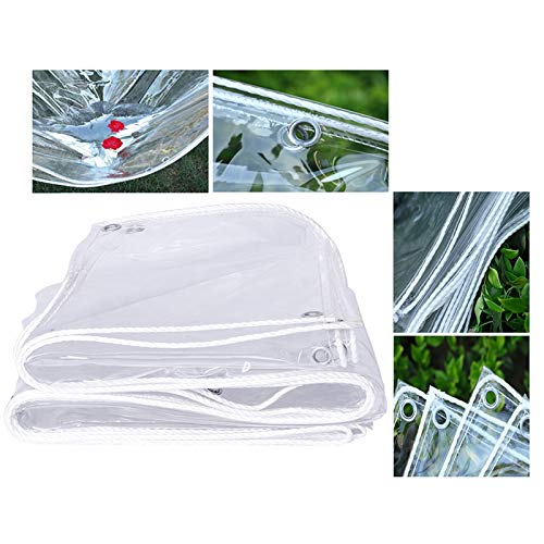 LH-RUG Tarp Waterproof Heavy Duty, Clear PVC Soft Glass, 400G/m2 Anti-Aging Insulation, 0.35mm Patio Canopy Support Customization (Color : Clear, Size : 3x8m)