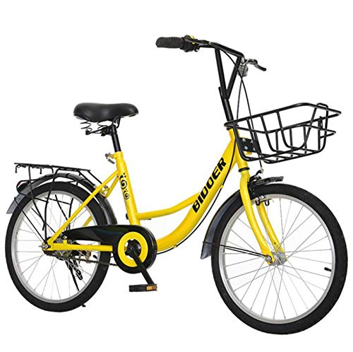 LBWT Kids' Freestyle City Road Bike, Outdoor Travel Bicycle, with Front Basket, The Best Gift (Color : Yellow, Size : 22 inch)