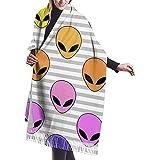 Bufanda Bright Rainbow Alien Head Chal de cachemira informal para mujer Abrigos Bufanda grande de invierno