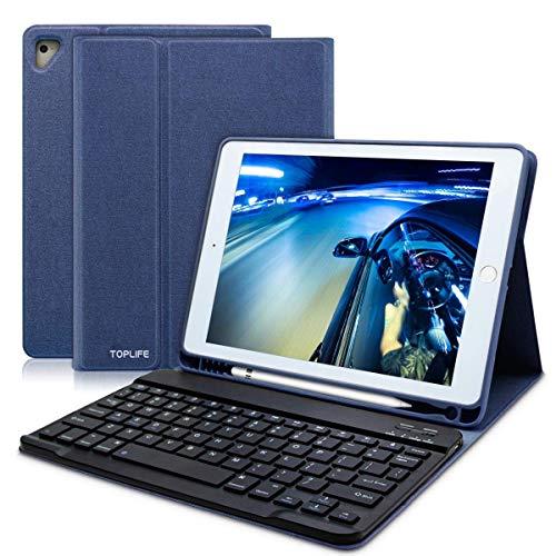 AZERTY - Teclado Bluetooth para iPad 9.7, teclado francés para iPad 2018/2017, iPad Pro 9.7, iPad Air 2/1, teclado Bluetooth inalámbrico Slim Funda Smart Despertador/Sueño Automático azul Bleu Foncé