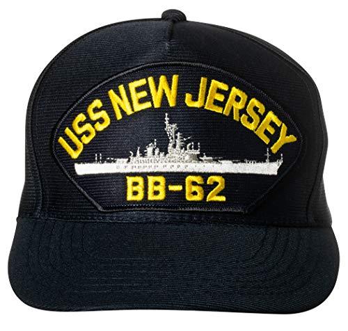 United States Navy USS New Jersey BB-62 Iowa-Class Battleship Emblem Patch Hat Navy Blue Baseball Cap