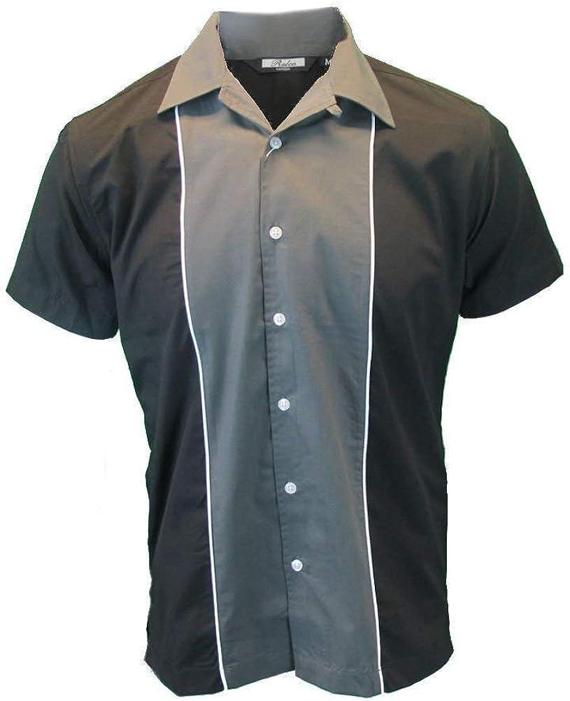 Relco Mens Rockabilly Retro Bowling Shirt