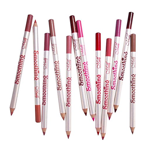 Fenteer 12pcs Multicolore Crayon à lèvres, Professionnel Imperméable Lipliner Crayon Maquillage Outils, Rouge, Brun, Rose, Rose Rouge Etc.