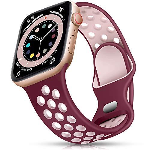 Epova Sport Cinturino in Silicone Compatibile con Apple Watch 40mm 38mm, Traspirante Cinturini di Ricambio per iWatch SE Series 6 5 4 3 2 1, Rosso Vino/Rosa, Piccolo