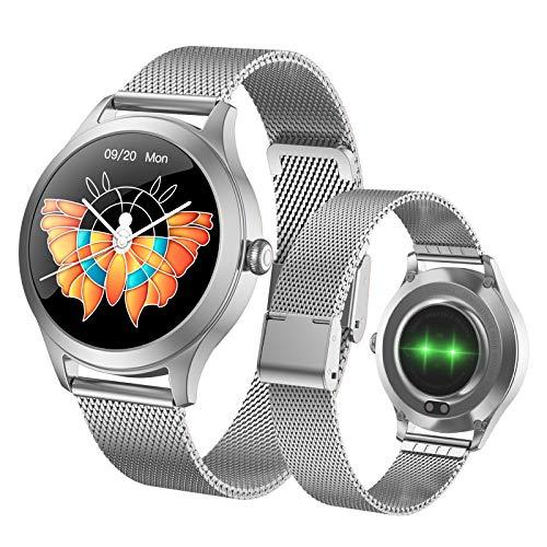 Fitonme Reloj Inteligente con Rastreador de Ejercicios - IP68 Smartwatch de Actividad Deportiva Femenina Impermeable con Frecuencia Cardíaca, Presión Arterial, Sueño, Contador de Calorías ( Plata)