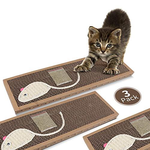 Nobleza - Rascador de cartón para Gatos. Alfombrilla con Catnip. 38cm * 12.5cm * 1.8cm(3)