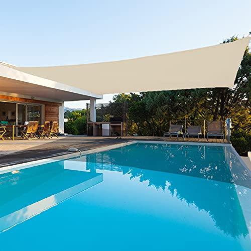 AOGESHI Sonnensegel, wasserdicht, 3 x 5 m, rechteckig, milchige Farbe, Terrassen-Sonnenschutz, 98 {4928ee54d11032e2b19b111207fbcde5aa9b7ca185081fc085e8e88525b68741} UV-Block, mit kostenlosen Seilen für den Garten im Freien