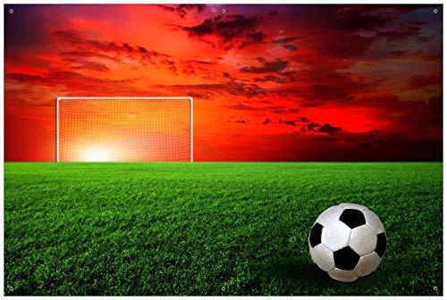 Wallario Garten-Poster Outdoor-Poster - Fußball - Fußballfeld bei Sonnenuntergang in Premiumqualität, Größe: 61 x 91,5 cm, für den Außeneinsatz geeignet