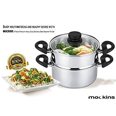 mockins 3 Piece Premium Heavy Duty Stainless Steel Steamer Pot Set Includes a 3 Quart Saucepot With a Vented Glass Lid & a 2 Quart Steamer Insert - Stack & Steam Pot Set … …