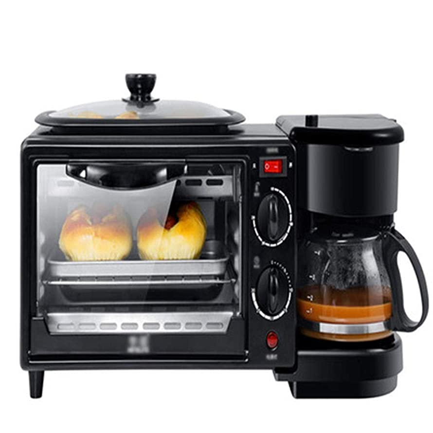 My-JUAN.97 Oven Toaster Multi-function Breakfast Machine Home Three-in-one Coffee Oven Toaster Mini Electric Oven Omelette (including 2 Ovens) -96 toaster (color : Black)