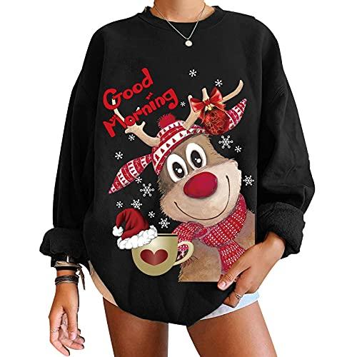 ORANDESIGNE Donna Maglione Natalizio Felpe Oversize Pullover Invernale Girocollo Sweatshirt con Stampa Manica Lunga Maglie Moda Tops Natale B Nero XXL