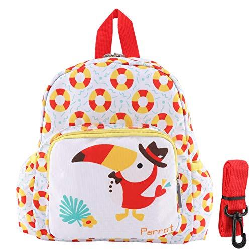 Zaino per bambini, simpatico cartone animato animale modello scuola zaino leggero zaino da viaggio borsa da pranzo per ragazze(Pappagallo)