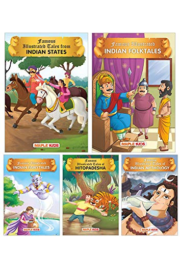Stories from India (Set of 5 Books with 68 Moral Stories) - Colourful Pictures - Story Books for kids- Tales from Indian States, Indian Folktales, Indian Fairytales, Hitopadesha, Indian Mythology