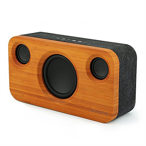 ARCHEER 25W Bluetooth Speaker (A320) with Super Bass, Loud Bamboo Wood Home Audio Wireless Speakers with Subwoofer
