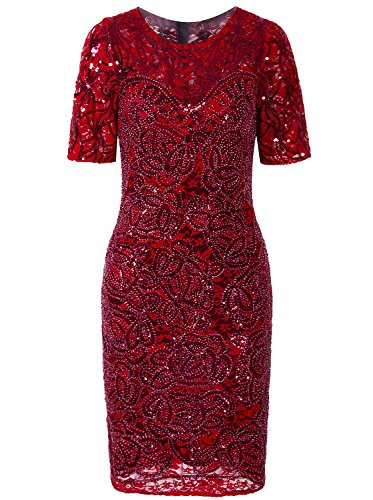 Vijiv Women Vintage Style Lace Beaded Cocktail Dress Sequin Great Gatsby Flapper Dress For Wedding Party With Sleeves,Red,Large