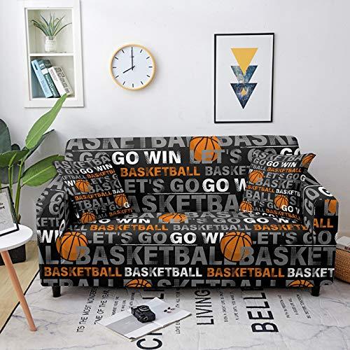 Fundas de sofá elásticas, universales, de baloncesto y letras impresas en negro, fundas elásticas de poliéster y licra, para sofá de cama individual a cuatro plazas, 4, plazas 2