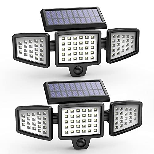 Hosome Luz Solar Exterior 3 Cabezas, Lámpara de Pared Solar Apliques de Exterior 3 Modos Luz con Sensor de Movimiento 270° Rango de iluminación Impermeable IP65 para Garaje/Jardín/Patio (2Pack)