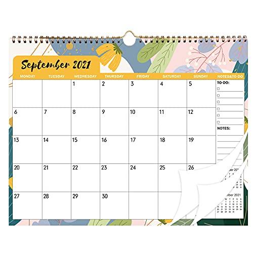 Calendario de pared 2022, calendario mensual, planificador anual 2022, con doble alambre, papel grueso, blocs grandes de Sep 2021 – De 2022, para el hogar y la oficina, en inglés