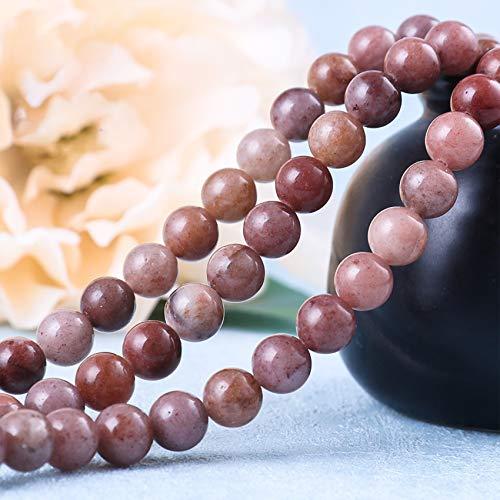 Cosaike Feng Shui Reichtum lose Perlen natürliche Kaffee Aventurine Perlen Heilung Edelstein Chakra Perlen für Schmuck Machen Masse Talisman für Ruhe und Reichtum,10mm