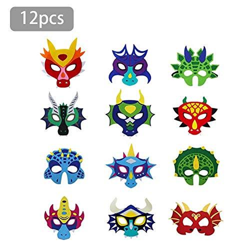 Rstant 12 PCS Party Masken Drachen Masken Halbmasken zum bemalen Tier Augenmaske Filz Masken mit Elastischen Seil für Geburtstagsfeier,Halloween, Cosplay Magnificent
