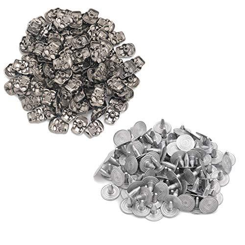 Trimming Shop 100 pzas Calavera Remaches Metal con Broches Cuero Manualidades Ropa Shows Tapas Trabajo Bricolaje 11mm x 15mm - Bronce Negro