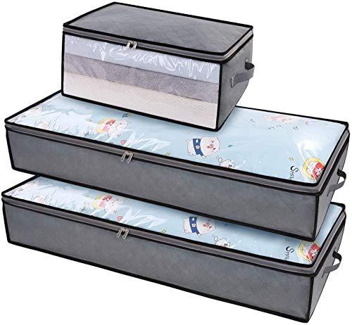DIMJ 3 Stück Große Unterbettkommode, Faltbare Kleideraufbewahrung mit verstärkt Griff und Sichtfenster, Aufbewahrungstasche für Kleidung, Bettwäsche, Bettdecken, Steppdecke, Kissen, Decken
