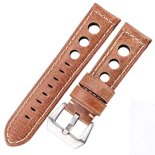 ZZDH Correa Reloj Cuero Correa de Cuero de Vaca 22mm 24mm Dark Brown Damas Reloje la Correa (Color : Brown, Width : 22mm)