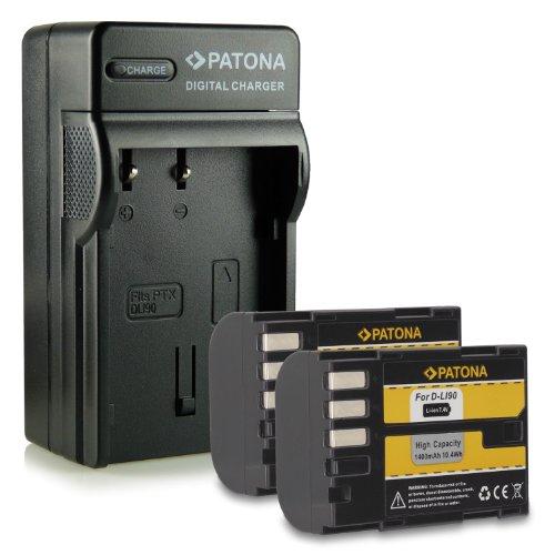 Bundle - 4en1 Cargador + 2x Batería D-Li90 DLi90 para Pentax 645D   K-01   K-5   K-5 II   K-5 Iis   K-7 mucho más… [ Li-ion; 1400mAh; 7.2V ]