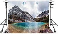 HD自然の風景の背景雪山湖の写真の背景10X7ftをテーマにしたパーティーの写真ブースYouTubeの背景XCMT420