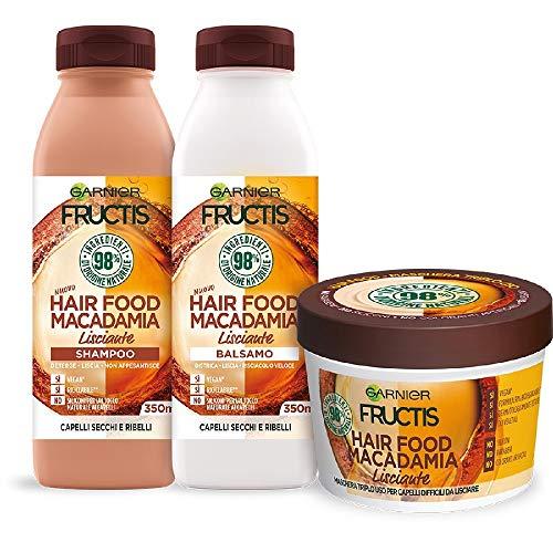 Garnier Shampoo + Balsamo + Maschera Fructis Hair Food, Kit Alla Macadamia per Capelli Ribelli, Effetto Anti-Crespo, 98% di Ingredienti di Origine Nat
