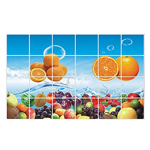 whmyz 60 * 90cm Impermeable Anti-Aceite Mancha de Papel de Aluminio Pegatina para Armario de Cocina Pegatina Fruta Vegetal patrón Papel de Pared decoración