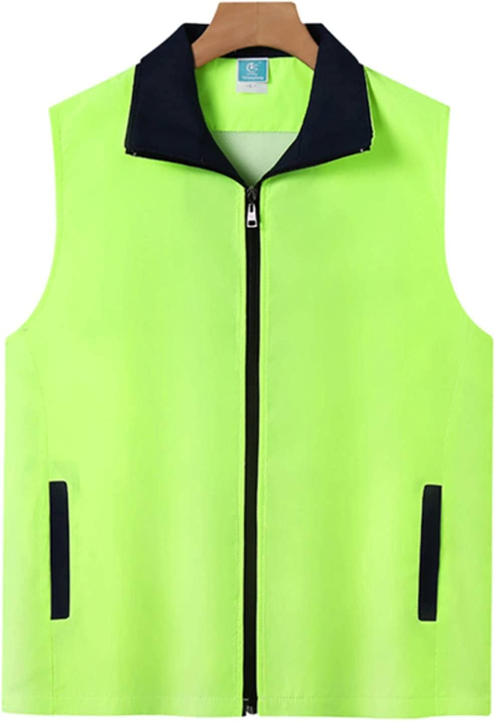 NC Men's Lapel Sleeveless Work Clothes Vest with Two Pockets Color-Blocking Composite Zipper Vest Breathable and Refreshing Jacket T253