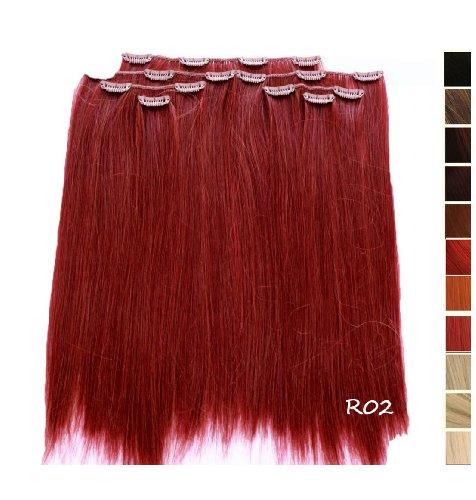 Prettyland - K170 7 teilig 50cm Clip-In glatt strähnen Haarteil Extension - R02 Rot