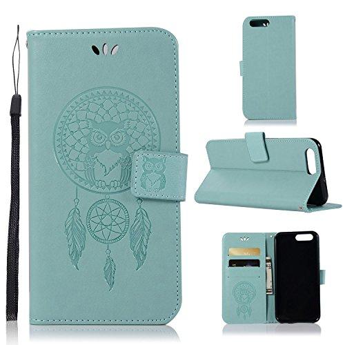 pinlu® Funda para ASUS ZenFone 4 ZE554KL (5.5 Pulgada) Precioso Flip Billetera Carcasa PU Leather con Ranuras de Soporte Función Cierre Magnético Diseño Búho Patrón Verde