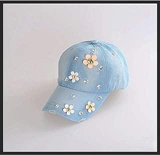 LVUITTON Women's Baseball Cap Fashion Diamond Print Cowgirl Hat Rhinestone Casual Hat Sunscreen Sunshade Outdoor Wild Baseball Cap Sports Comfortable Breathable (Color : Light Blue)