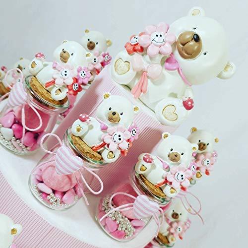 Sindy Bomboniere VASETTI per Confetti Nascita Bimba E Battesimo Prezzi ECONOMICI con confettini, Marshmallow e zuccherini (Torta Completa)
