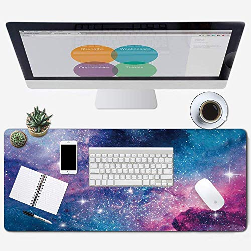 Galdas Gaming Mouse Pad Cool Flash Pattern XXL XL Large Mouse Pad Long Extended Mousepad Desk Pad Non-Slip Rubber Mice Pads Stitched Edges Thin Pad (31.5x11.8x0.08 Inch) (Galaxy)