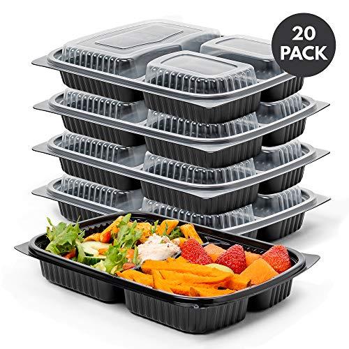 matana 20 Pack, 3-Fach Meal Prep Container - Auslaufsicher & 100{b0b8ad7542b064f08f5c14ba7aa8831fd9d42b76e39bb73ef96154c2a3acf619} BPA Frei - Wiederverwendbar Bento Fitness Essen Lunch Boxen mit Sicheren Deckeln - Gefrierschrank, Spülmaschine & Mikrowellenfest.
